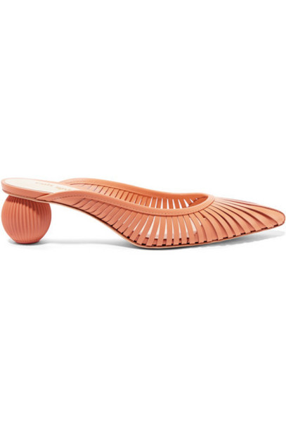 Cult Gaia - Alia Leather Mules - Peach