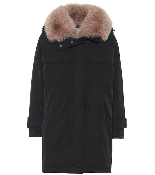 Moncler Lagopede fur-trimmed down coat in black