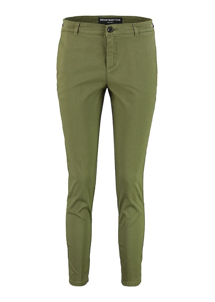 Department 5 Elastic Gabardine Cigarette Puff Trousers in green