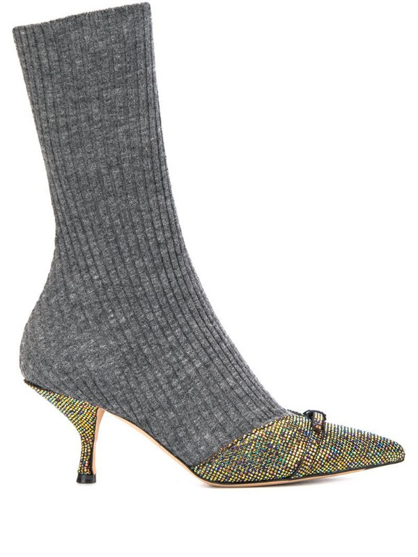 Marco De Vincenzo ribbed sock boots in grey