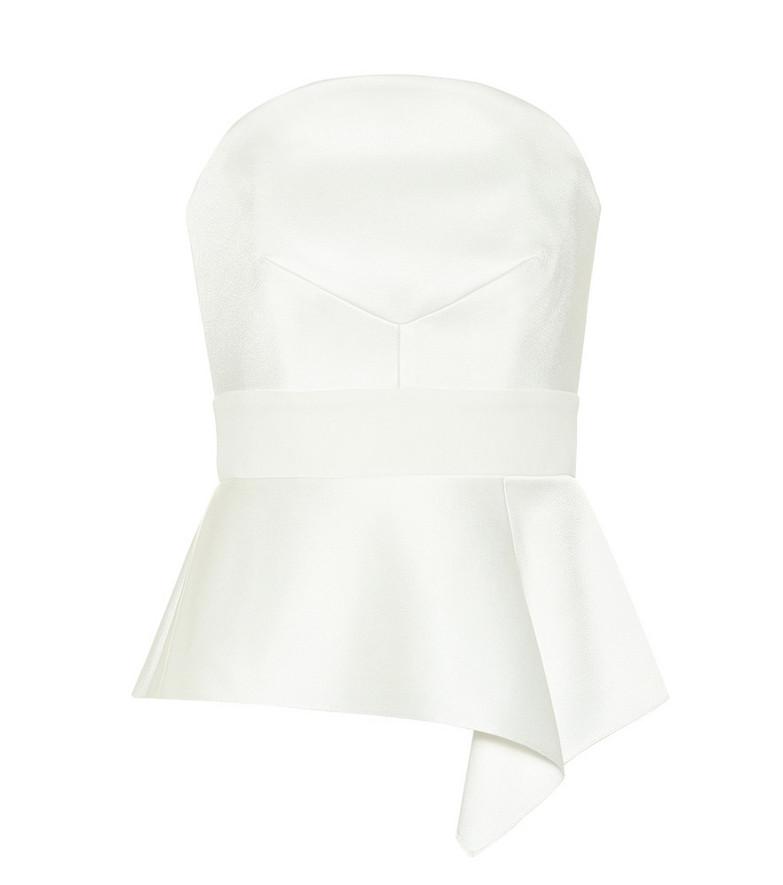 Roland Mouret Penn satin bridal top in white