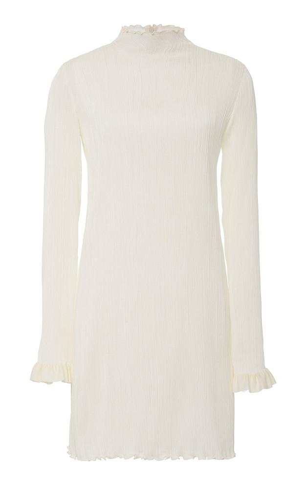 Danielle Frankel Jamie High-Neck Silk Mini Dress Size: 0 in white