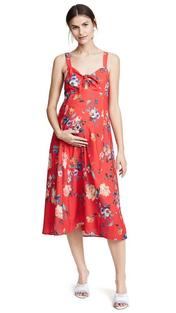 Yumi Kim Maternity Midi Dress in red