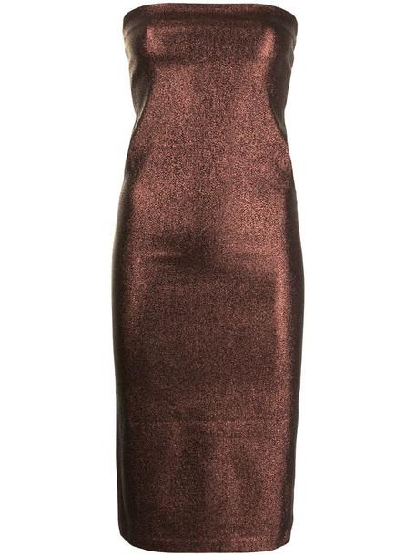 Gucci Pre-Owned glitter strapless midi dress in brown