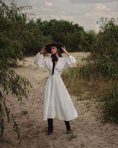 dress,midi dress,polka dots,long sleeve dress,hat,black boots