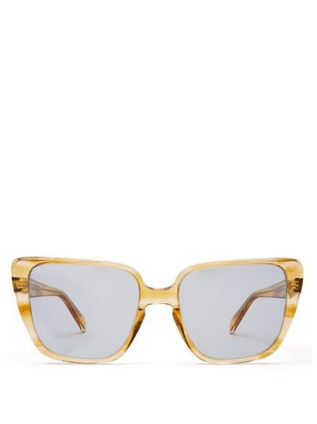 Celine Eyewear - Square Cat Eye Acetate Sunglasses - Womens - Yellow Multi
