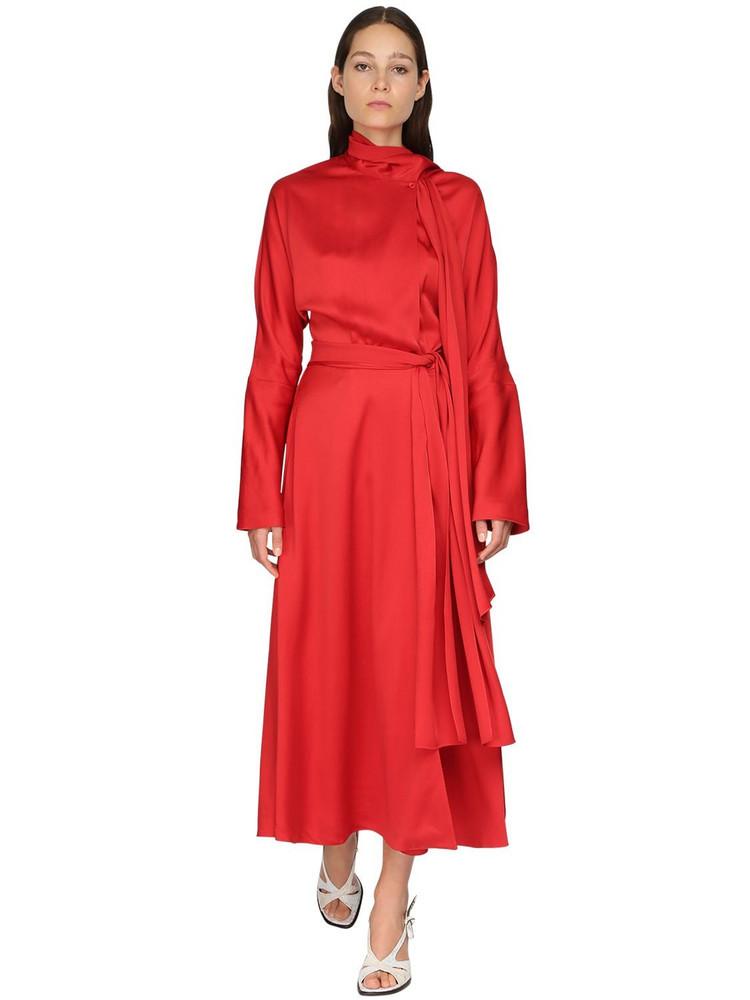 SIES MARJAN Satin Crepe Envers Midi Dress W/ Scarf in red