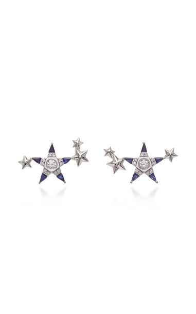 Melis Goral Mars 14K Gold, Sapphire And Diamond Earrings