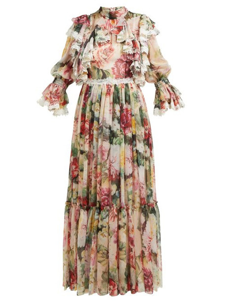 Dolce & Gabbana - Floral Print Ruffled Silk Blend Chiffon Gown - Womens - White Multi