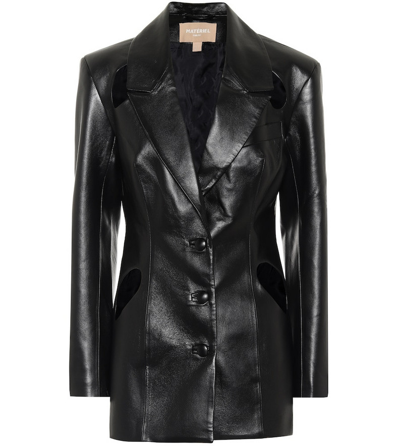 Matériel Tbilisi Faux leather blazer in black