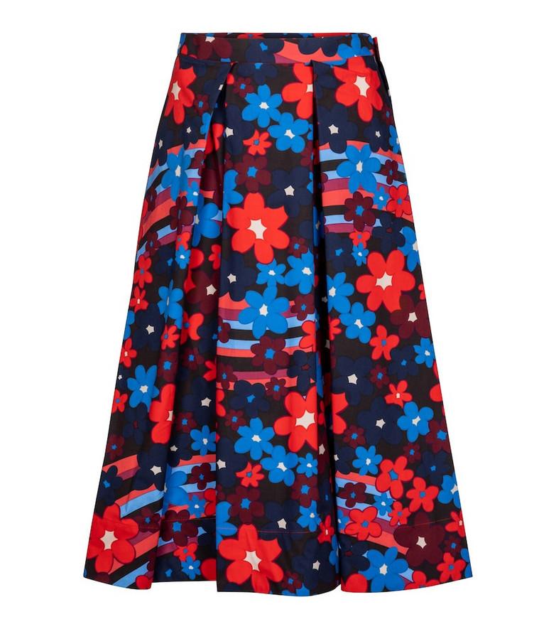 Marni Floral cotton midi skirt in blue