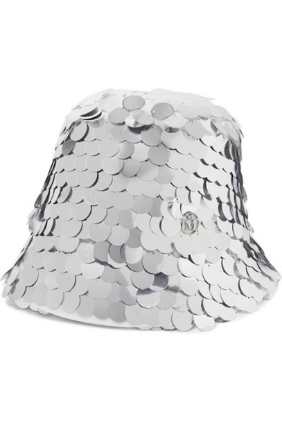Maison Michel - Souna Paillette-embellished Tulle Bucket Hat - Silver