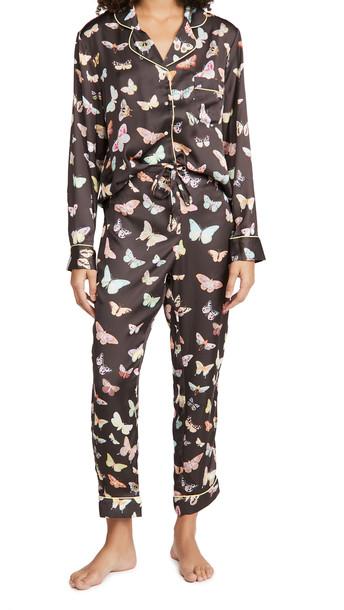 Karen Mabon Moths Long Pajama Set in chocolate