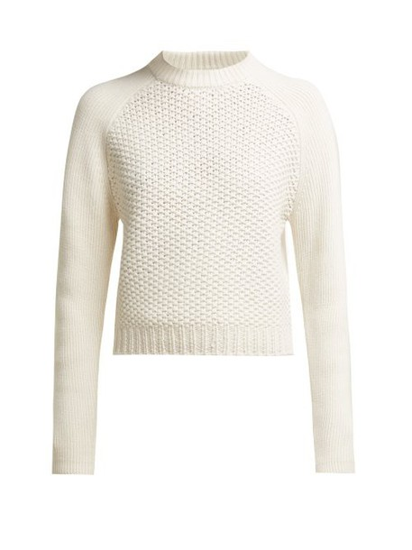 Chloé Chloé - Contrast Knit Wool And Cashmere Blend Sweater - Womens - White