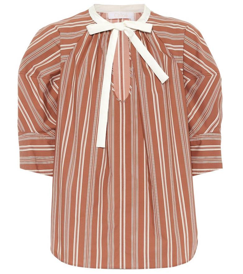Chloé Striped cotton-poplin blouse in brown