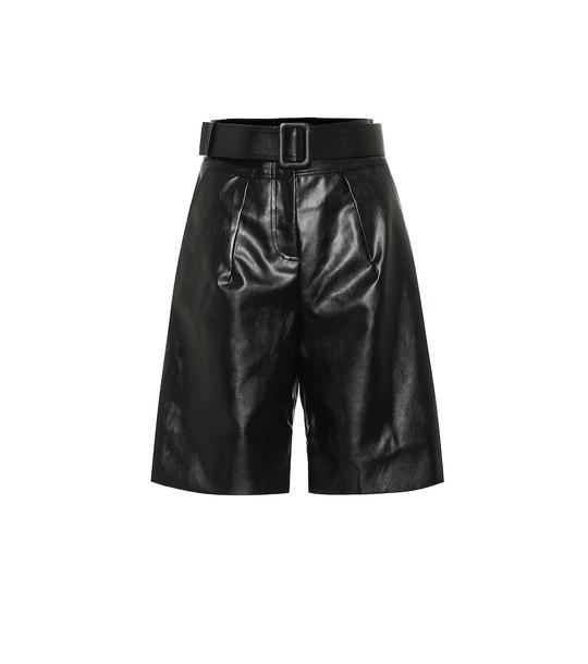 Self-Portrait Faux-leather Bermuda shorts in black