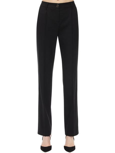 DOLCE & GABBANA Regular Waist Wool Stretch Pants in black