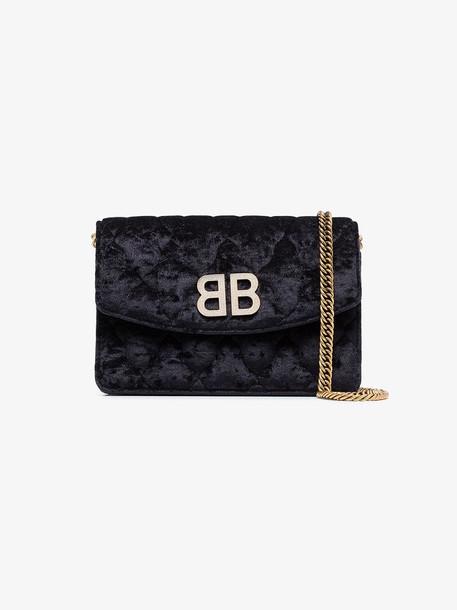 Balenciaga Black velvet BB crystal logo bag
