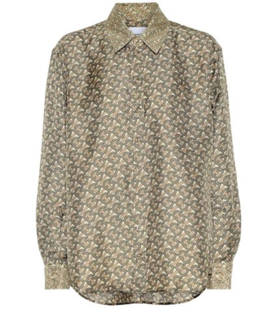Burberry Logo silk-twill shirt in beige