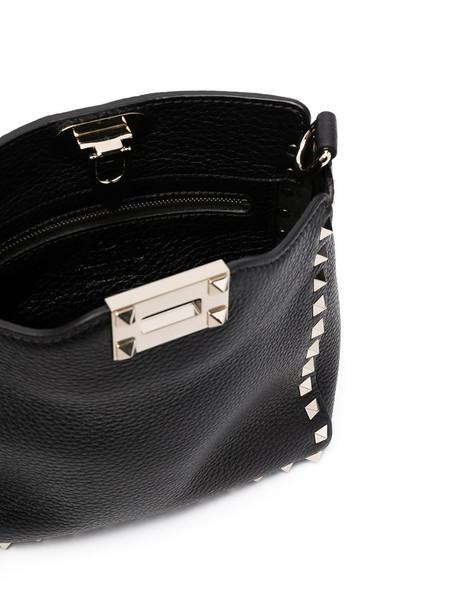 Valentino Garavani Rockstud leather messenger bag in black