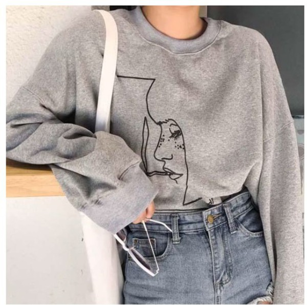 sweater jumper girly grey grey sweater sweatshirt tumblr