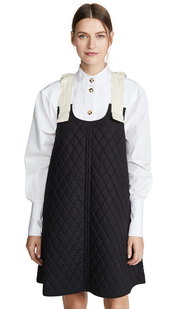 Lee Mathews Olive Quilted Apron Dress in black