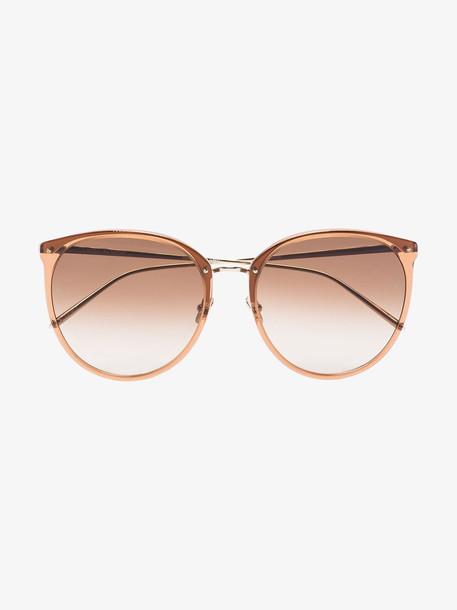 Linda Farrow Brown Kings Tobacco round sunglasses