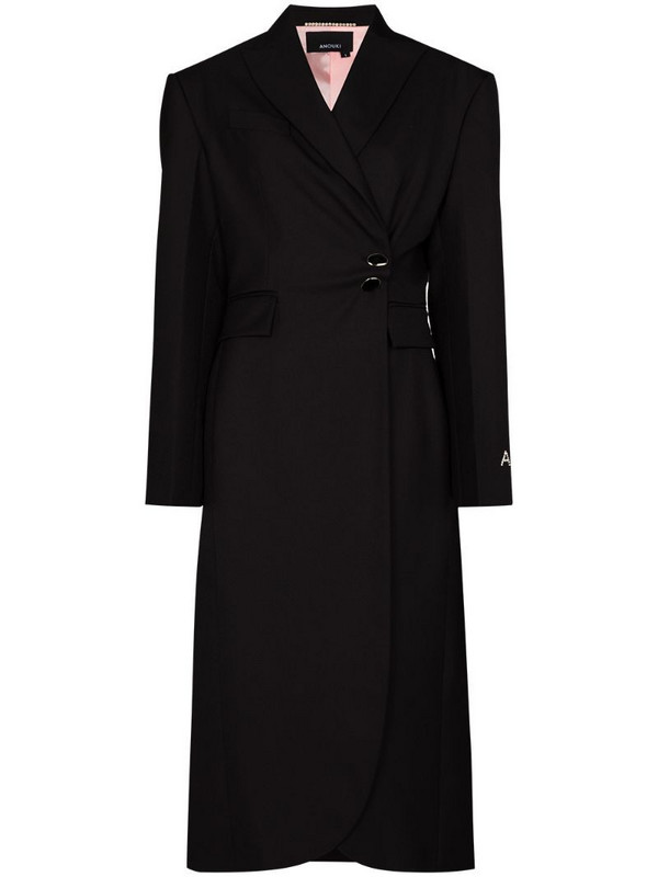 ANOUKI wraparound mid-length coat in black