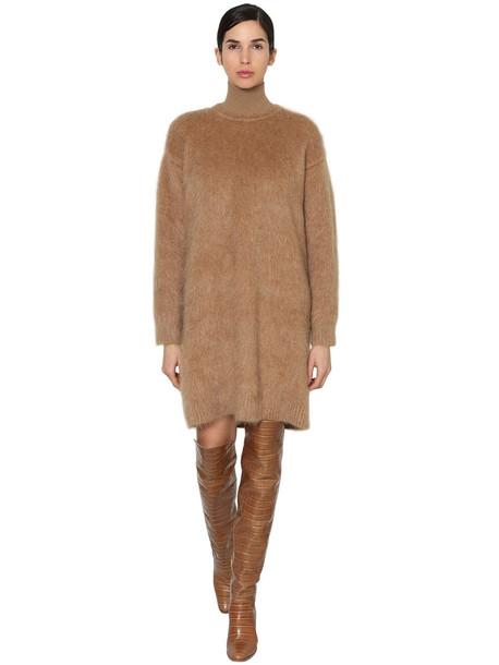 MAX MARA Mohair & Wool Blend Knit Dress in camel