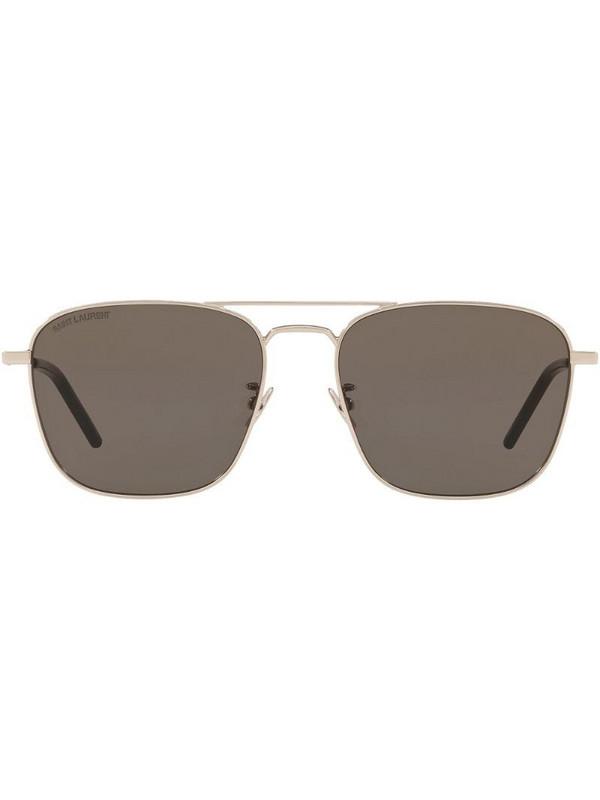 Saint Laurent Eyewear square-frame double-bridge sunglasses in silver
