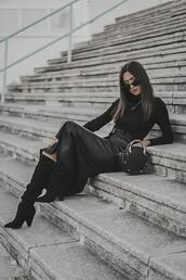 shoes and basics,blogger,coat,top,skirt,shoes,bag,suede boots,knee high boots,all black everything,round bag