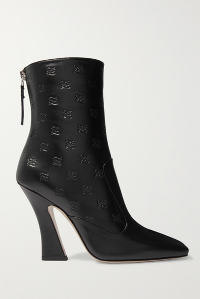Fendi - Logo-embossed Leather Ankle Boots - Black
