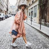 bag,blue bag,velvet,white sneakers,pink jacket,long,puffed sleeves,hat