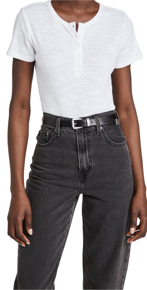 Z Supply Lynn Henley Slub Thong Bodysuit in white
