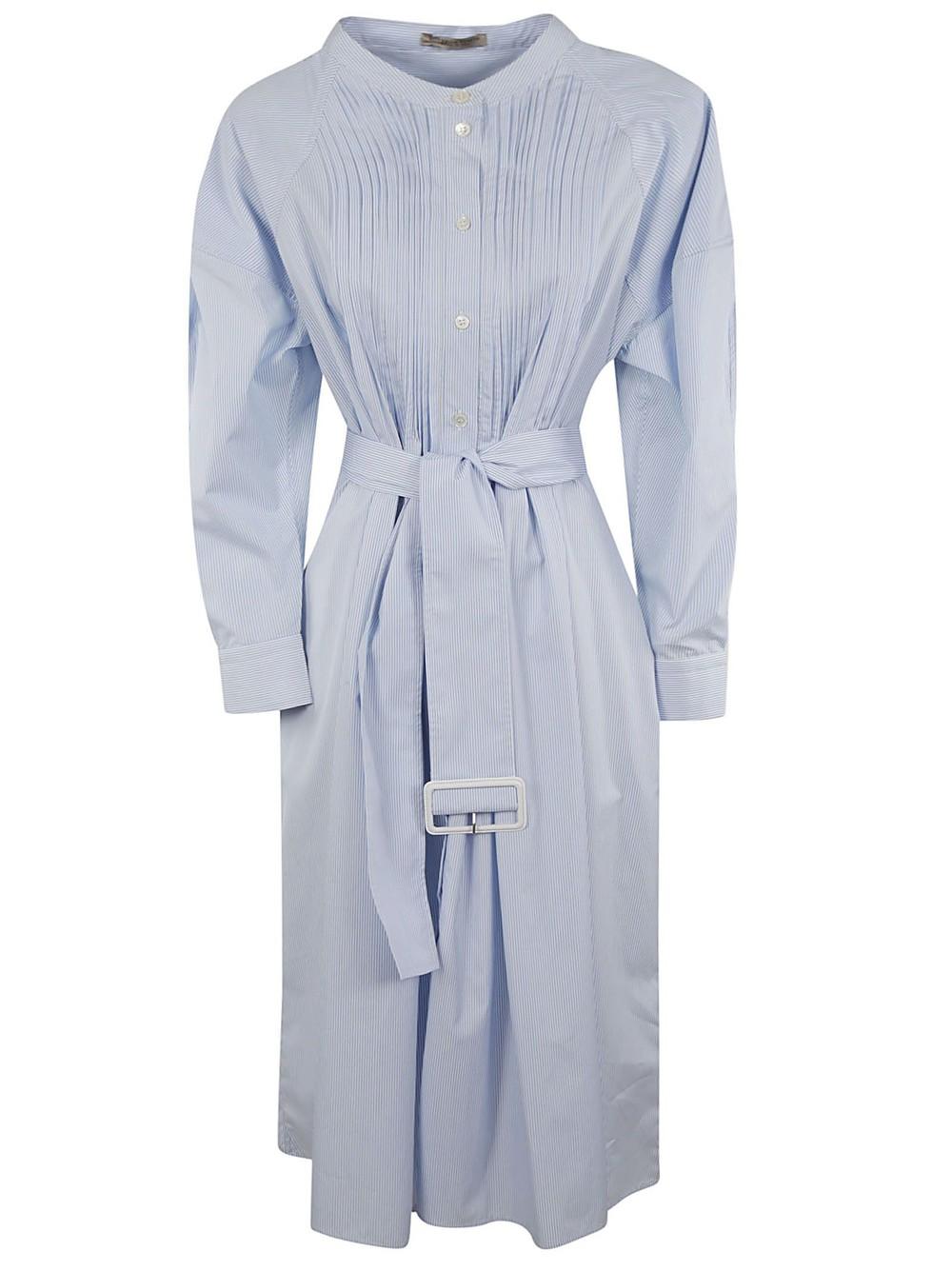 Bottega Veneta Belted Dress in blue / white