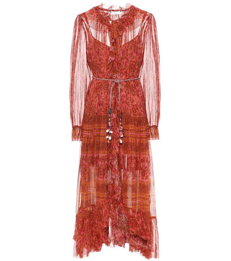 Zimmermann Edie silk midi dress in red