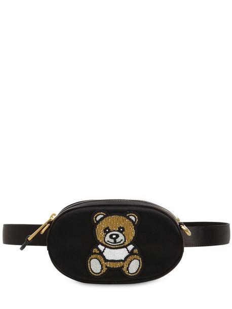 MOSCHINO Embellished Silk Satin Belt Bag in black