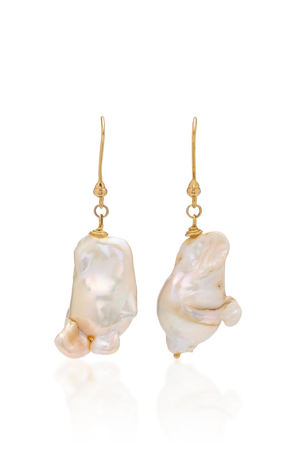 Ranjana Khan Pearl Drop Earrings in white