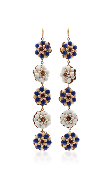 Péro White And Blue Long Earrings