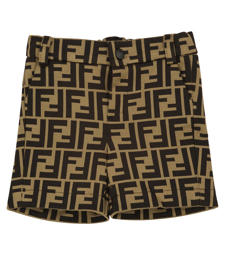 FENDI Kids Baby FF cotton-blend shorts in beige