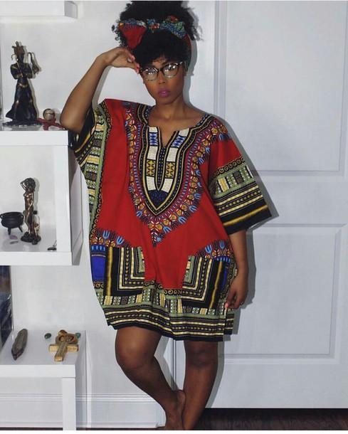 t-shirt dashiki african print tunic dress red oversized t-shirt