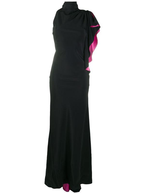 Redemption asymmetric sleeve ruffle dress in black