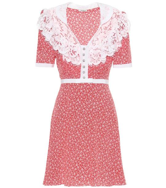 Miu Miu Lace-trimmed floral silk dress in red
