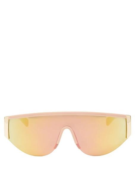 Le Specs - Viper Reflective Lens Flat Top Sunglasses - Womens - Gold