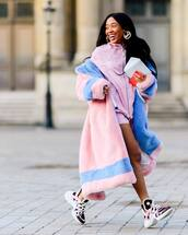 jacket,pink jacket,sneakers,faux fur coat,pink coat,shorts,louis vuitton