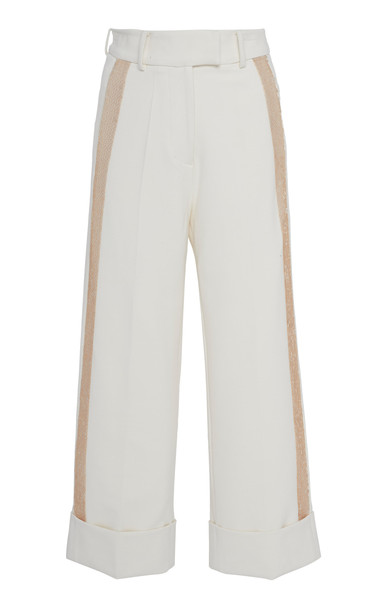 Silvia Tcherassi Sequin-Embellished Gabina Crepe Pants in white