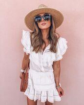 dress,white dress,mini dress,ruffle dress,brown bag,round bag,sun hat,sunglasses