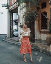 skirt,midi skirt,floral skirt,high waisted skirt,slide shoes,white top,crop tops,off the shoulder,crossbody bag