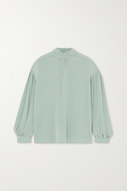 VINCE - Gathered Silk-crepe Blouse - Green