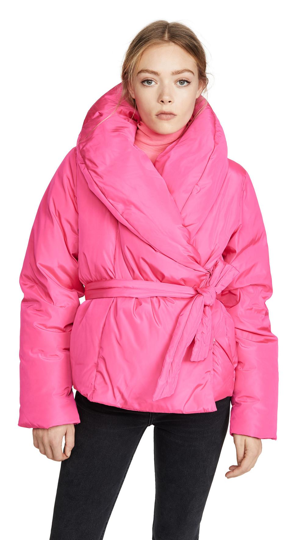 Saks Potts Puffer Jacket With Belt in pink